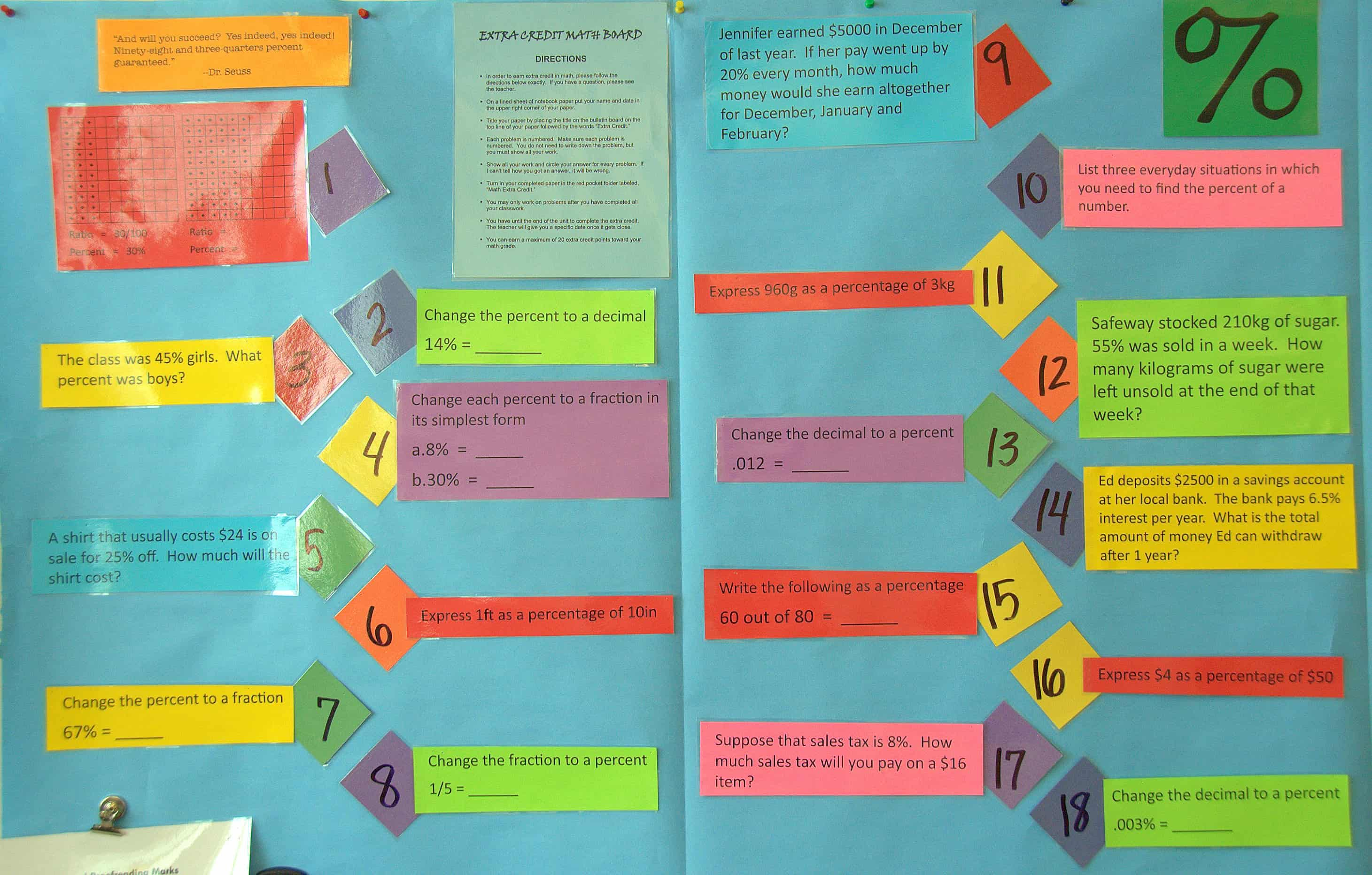 6th Grade Math Classroom Decorations : Extra credit math board singaporemathsource