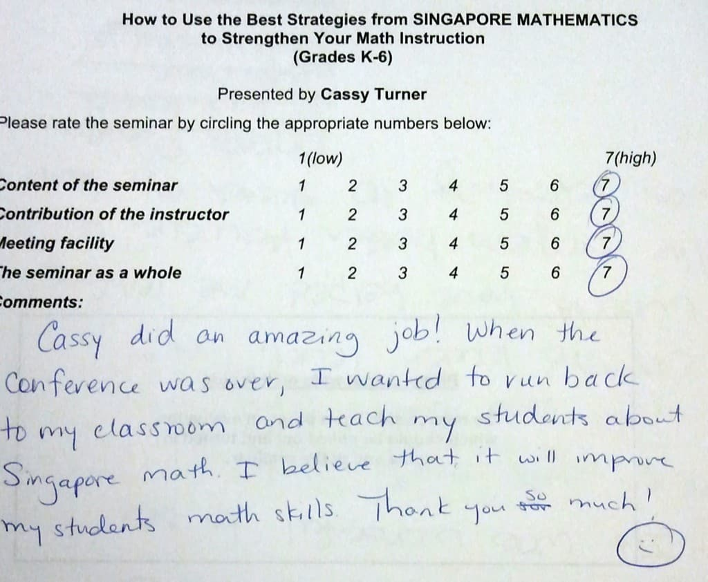 Best Strategies from Singapore Math BER Evaluation by Cassy Turner