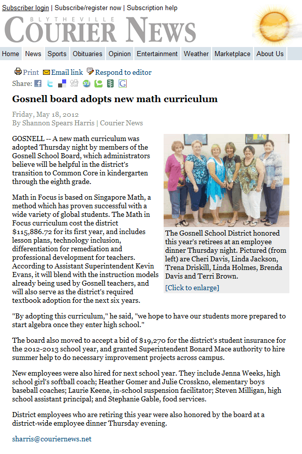 News About Schools Using Singapore Math Singaporemathsource